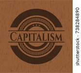 capitalism wood emblem. retro | Shutterstock .eps vector #738284890