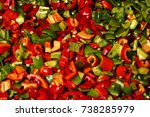 fresh cut green red and yellow... | Shutterstock . vector #738285979