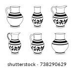 set of ceramic crockery in... | Shutterstock .eps vector #738290629