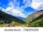 mountain range landscape sky... | Shutterstock . vector #738293350