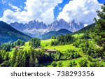 mountain green valley village... | Shutterstock . vector #738293356