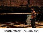 old dhaka dockyard worker ... | Shutterstock . vector #738302554