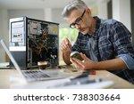 technician repairing computer... | Shutterstock . vector #738303664