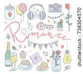 Romance hand drawn illustrations. Love doodles, romantic evening for couple, wedding elements
