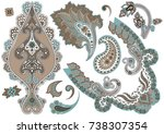 set of paisley elements in... | Shutterstock .eps vector #738307354