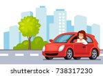riding on the car. happy woman... | Shutterstock .eps vector #738317230