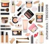 vector face makeup cosmetics | Shutterstock .eps vector #738322048