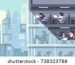 work in office. people working... | Shutterstock .eps vector #738323788