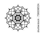 black on white flower hand... | Shutterstock . vector #738338524