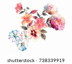 blooming flowers  the leaves... | Shutterstock . vector #738339919