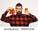 farmer with serious face holds... | Shutterstock . vector #738341428