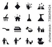 16 vector icon set   broom  rag ... | Shutterstock .eps vector #738345424