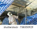 technician spraying foam... | Shutterstock . vector #738350929