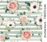 seamless pattern vector floral... | Shutterstock .eps vector #738351166