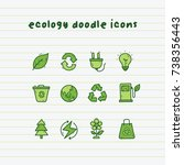 ecology doodle icons on paper... | Shutterstock .eps vector #738356443