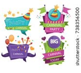 set of colorful party design... | Shutterstock . vector #738356500