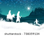 nativity scene with the holy... | Shutterstock .eps vector #738359134