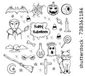 set of halloween attributes and ... | Shutterstock .eps vector #738361186