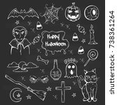 set of halloween attributes and ... | Shutterstock .eps vector #738361264