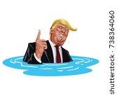 donald trump sinking. vector...   Shutterstock .eps vector #738364060