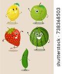 fruits  cartoon vegetables ... | Shutterstock .eps vector #738368503