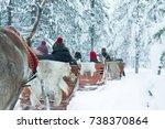 reindeer safari sledge  finland ...