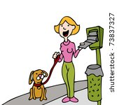 Stock vector an image of a woman using a pet waste bag stand while walking her dog 73837327