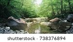 mountain river in the forest | Shutterstock . vector #738376894