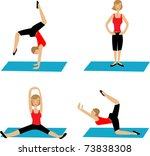 yoga poses | Shutterstock .eps vector #73838308