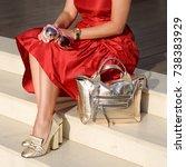 golden shoes on women's legs. a ... | Shutterstock . vector #738383929