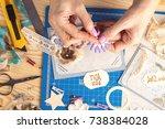 scrapbook background. card and...   Shutterstock . vector #738384028