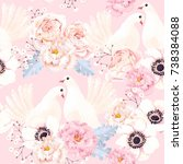 seamless pattern with flowers... | Shutterstock .eps vector #738384088