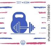 kettlebell and barbell icon | Shutterstock .eps vector #738384580