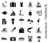 anti sun cream icons set.... | Shutterstock . vector #738385678
