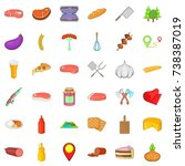 barbecue food icons set.... | Shutterstock . vector #738387019