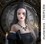 beautiful portrait of a gothic... | Shutterstock . vector #738391306