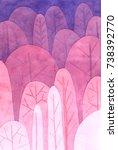 watercolor tree pattern... | Shutterstock . vector #738392770
