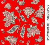 seamless floral pattern on red... | Shutterstock .eps vector #738398479