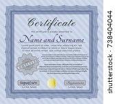 blue certificate or diploma... | Shutterstock .eps vector #738404044