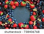 summer various berries flat lay ... | Shutterstock . vector #738406768
