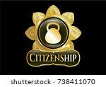 golden badge with kettlebell... | Shutterstock .eps vector #738411070