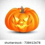 halloween pumpkin icon. 3d... | Shutterstock .eps vector #738412678