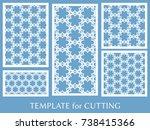 decorative panels set for laser ... | Shutterstock .eps vector #738415366