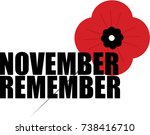 remembrance day poppy | Shutterstock .eps vector #738416710