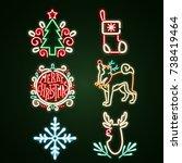 set christmas  neon sign. neon...   Shutterstock .eps vector #738419464