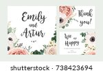 wedding invitation  floral... | Shutterstock .eps vector #738423694
