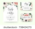 Stock vector wedding invitation floral invite rsvp cute card vector designs set garden lavender pink peach rose 738424273