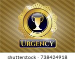gold shiny badge with trophy... | Shutterstock .eps vector #738424918
