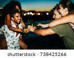 group of best friends having... | Shutterstock . vector #738425266