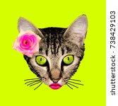 retro kitty contemporary art...   Shutterstock . vector #738429103
